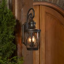Lowes Outdoor Lights Wall Lights Shop Allen Roth Castine 23 75 In H Rubbed Bronze Outdoor Wall