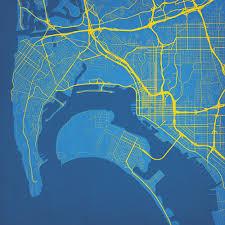 San Diego California Map by San Diego California Map Art City Prints