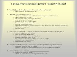 famous americans scavenger hunt ppt download