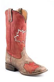 boots canada amazon com roper s canadian flag cowboy boot square toe