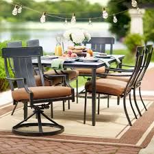 Stackable Patio Furniture Set - hampton bay oak heights 7 piece patio dining set with cashew