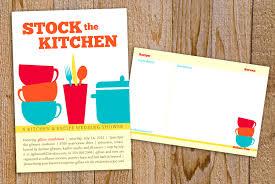 kitchen themed bridal shower invitations with recipe card u2013 mini