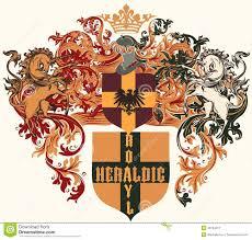 wappen designer heraldisches design mit wappen schild und pferde in der weinlese