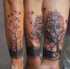 collection of 25 nature tree and birds tattoos on arm