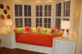 Under Window Storage by Amazing Bay Windows Design With Comfy Red Seats Cushions Combined