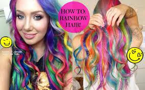 rainbow color hair ideas how to rainbow hair at home diy jade madden youtube