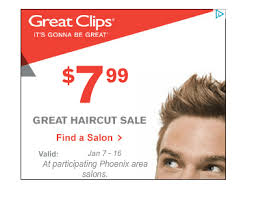 haircut specials at great clips great clips 7 99 haircut sale phoenix locations through 1 16