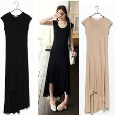 fashion trends scoop neck long sleeves maxi cotton dress summer