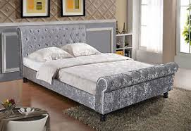 Velvet Sleigh Bed Luxurious Padded Crushed Velvet Sleigh Bed With Diamantes Or