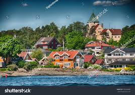 oslo norway beautiful city architecture colors stock photo