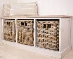 build a bench with storage baskets home decorations image on
