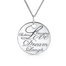 disc pendant necklace sterling silver inspirational words disc pendant necklace 18in