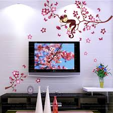 diy pink branch animal monkey vinyl wall stickers for kids room