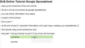 Make Spreadsheet Online Eve Online Tutorial Google Spreadsheet Part 1 Youtube
