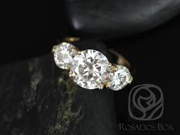 three stone engagement rings rosados box carla 9 u00266mm 14kt yellow gold round f1 moissanite and