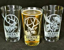 etched glass vase personalized 2 personalized beer glasses with deer etched glass pint glass