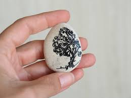 tree of life handpainted beach stone painted rocks stones office