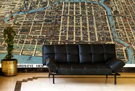 Map Wallpaper Chicago Business District Birds Eye View 1898 Wall Map Mural