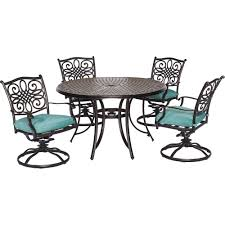 Dining Chair Protective Covers Hanover Traditions 5 Piece Aluminum Round Outdoor Dining Set With