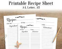 editable printable recipe card template pdf recipe sheet