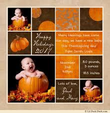 posh thanksgiving birth announcement photo card autumn baby s