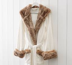 fur christmas faux fur robe ivory caramel ombre pottery barn