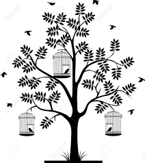 tree silhouette with birds flying and bird in a cage royalty free