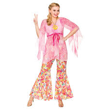 ladies groovy hippie costume 1960s fancy dress hippy xs xl