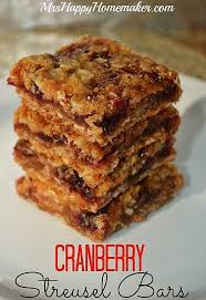cranberry streusel bars if you leftover cranberry sauce
