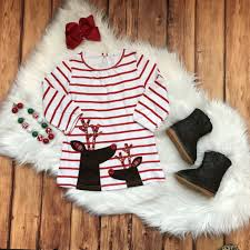 rts baby girls christmas dress with reindeer plaid antler applique