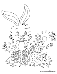 easter bunny and eggs dot to dot game coloring pages hellokids com