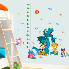 dinosaur growth chart tattoo stickers decals boys room girls room height chart wall stickers
