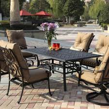 7 Pc Patio Dining Set - outdoor u0026 garden fabulous metal patio dining set with tufted