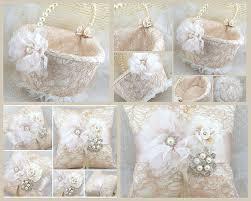 wedding pillows ring bearer pillow flower girl basket chagne ivory
