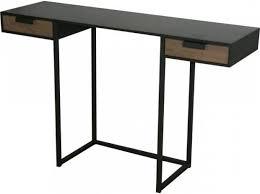 bureau console pas cher kwadrat console bureau en acier et chêne avec 2 tiroirs