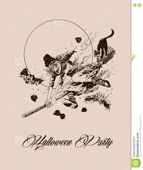 vintage halloween illustration vintage halloween witch flying on broom with black cat vector