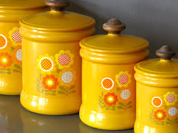 retro kitchen canister sets kitchen canister set metal yellow flower by westbend yellow
