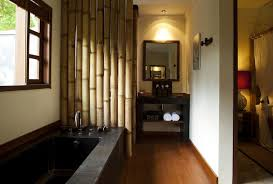 Eco Friendly Bathroom Design With Bamboo Wall In Balinese Home - Bali bathroom design