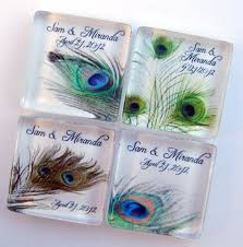peacock wedding favors personalized magnets 1 inch square - Peacock Wedding Favors