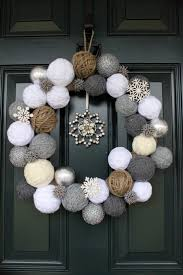 living room creative christmas wreath white grey brown wool