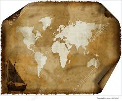 Old World Map Signs And Info Old World Map On Grunge Retro Paper Stock