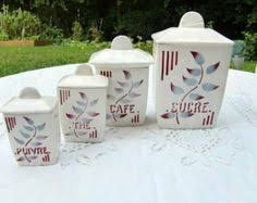 vintage french 6 jar canister set made in czechoslovakia 1930s