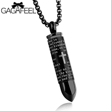 christian necklaces gagafeel men bullet necklace pendant stainless steel cross