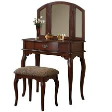 Furniture Vanity Table Bobkona St Croix 3 Fold Mirror Vantiy Table With Stool Set In