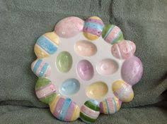 ceramic egg dish easter egg plate deviled egg platter tray dish ceramic flowers
