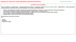 pharmacist assistant work experience letters
