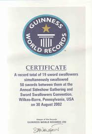 sword swallowers association intl ssai sword swallowing world records