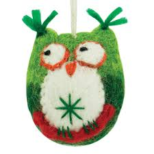 felted lime owl ornament zee bee market llc