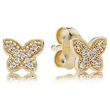 gold earrings uk pandora 14ct gold butterfly stud earrings 250320cz from gift and