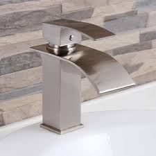 elite modern bathroom sink waterfall faucet brushed nickel 8803bn